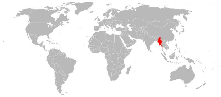 Mapa da localização geografica de Myanmar no Mundo