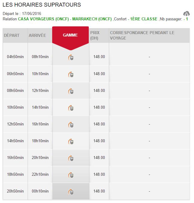 Horários e preços do comboio desde Casablanca até Marrakech