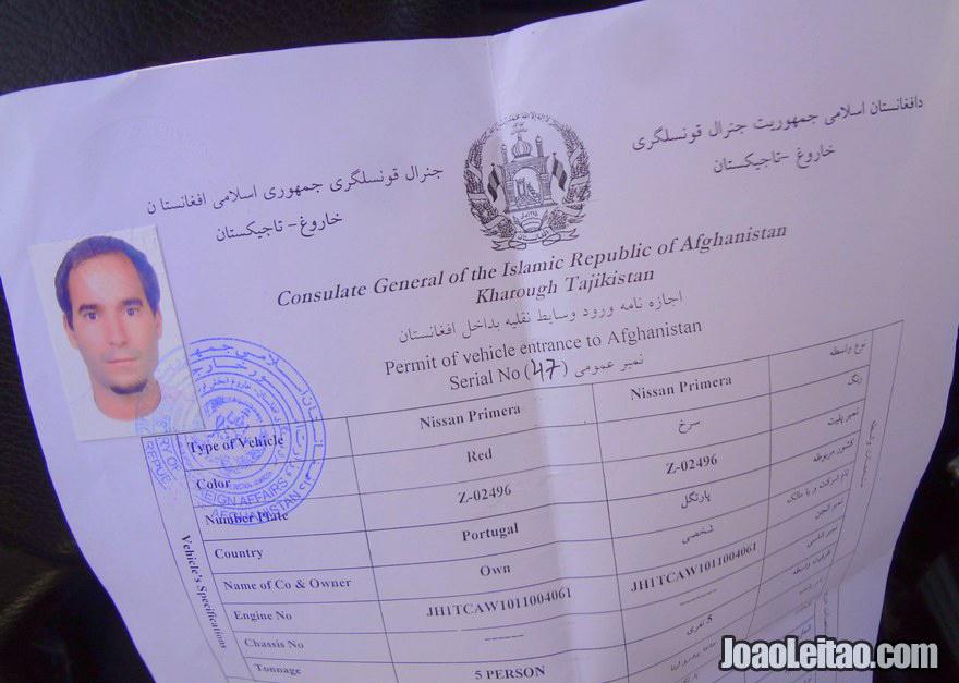Permissão Rodoviária para a entrada de um veículo no Afeganistão