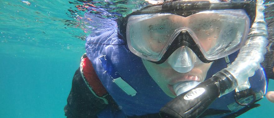 A fazer snorkeling nas Galápagos