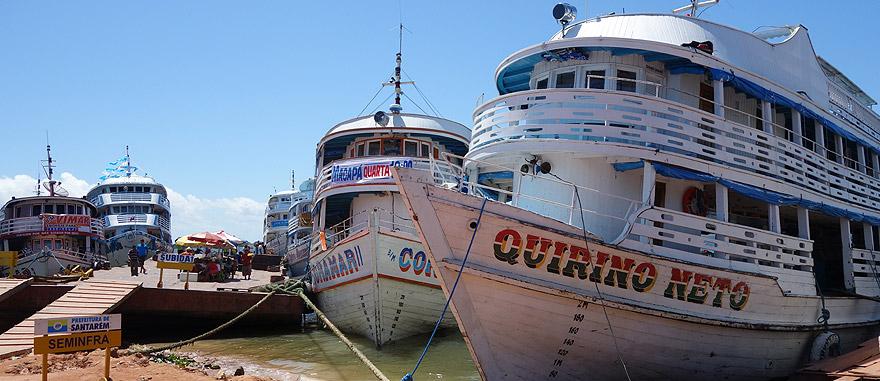 Boats in Santarém port, Brazil