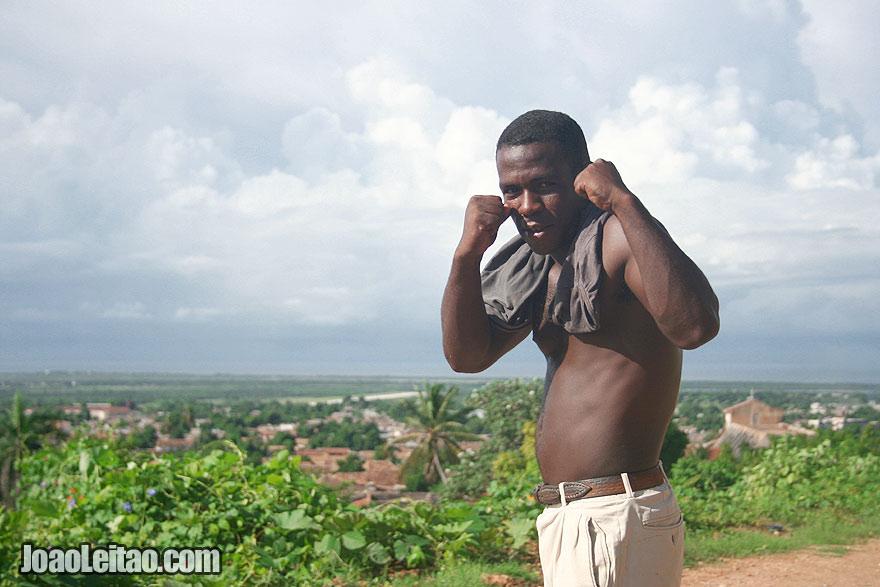 Cuban boxer posing