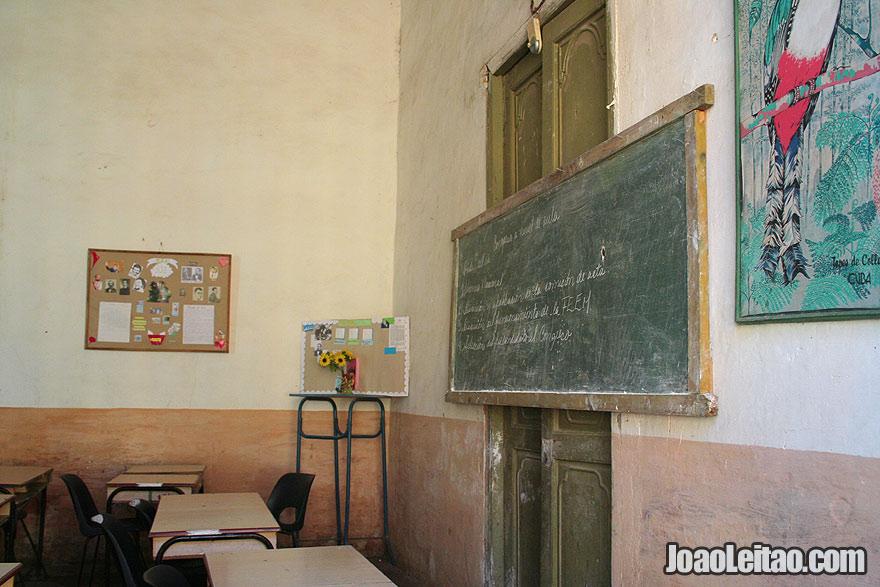 Inside a classroom of a school in Trinidad