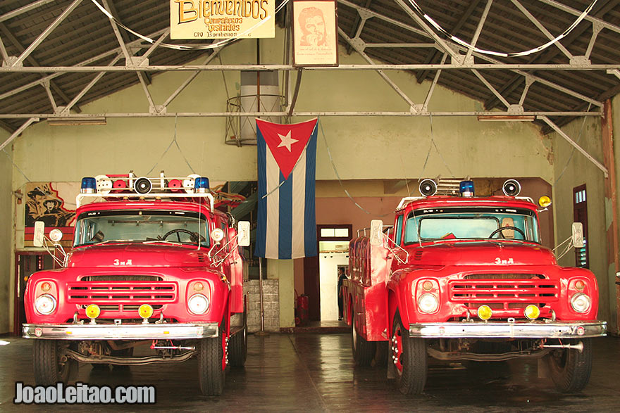 Fire trucks in Santa Clara fire station
