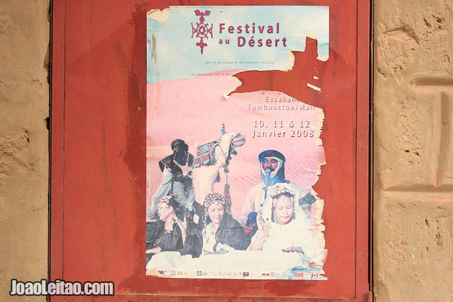 Festival Au Desert poster -  traditional Tuareg festivities in Kidal