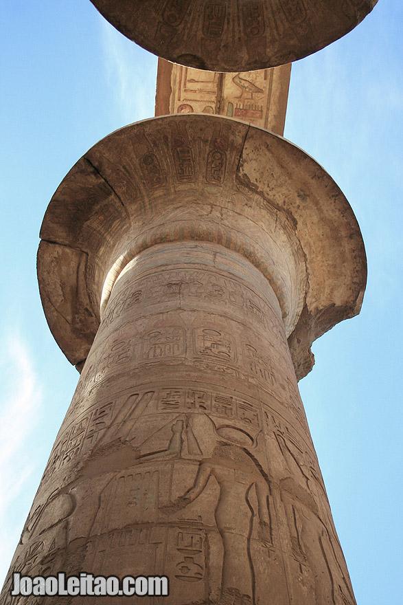 Hieroglyph decorated stone column in Karnak temple