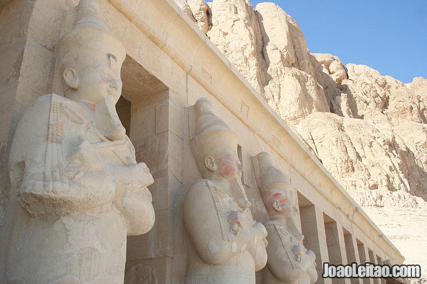 Osirian columns representing Hatshepsut inside the Mortuary Temple of Hatshepsut in Luxor