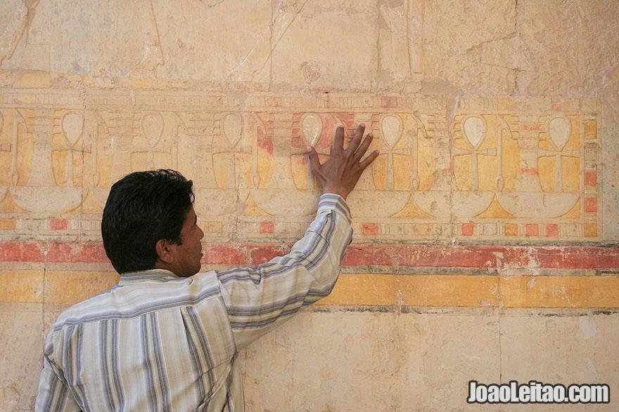Egyptian guide explaining the Mortuary Temple of Hatshepsut in Luxor