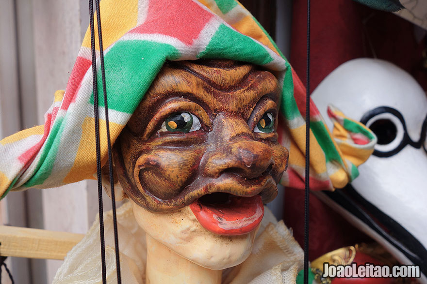 Close up of a Venetian puppet