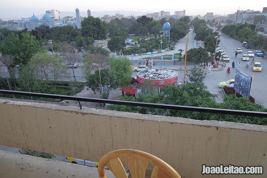 View from my hotel balcony in Mazar-e Sharif, Barat Hotel