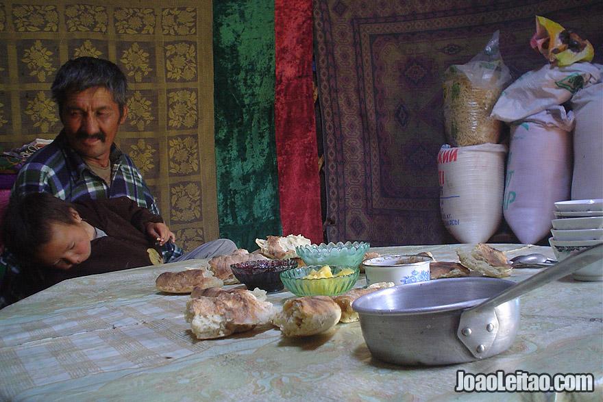 Inside a yurt nomad tent in Kazakhstan