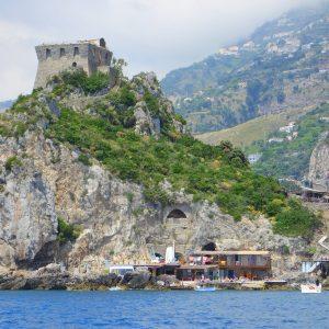 Norman tower castle restaurant on the Amalfi Coast near Maiori