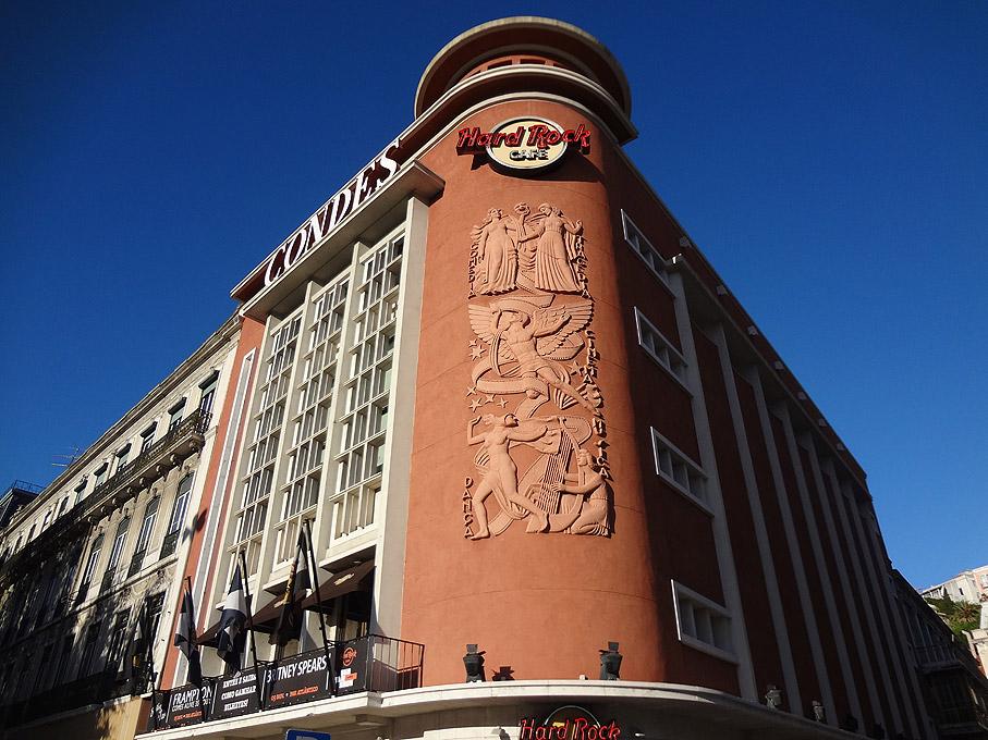 Fotografia Antigo Cinema Condes agora Hard Rock Café, Restauradores Lisboa