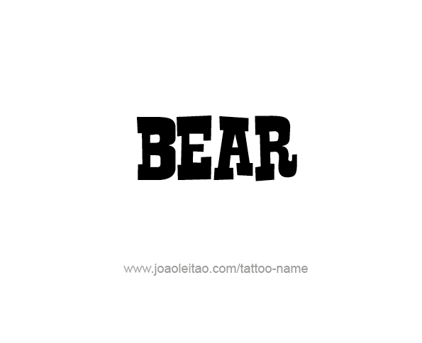 Tattoo Design Animal Name Bear