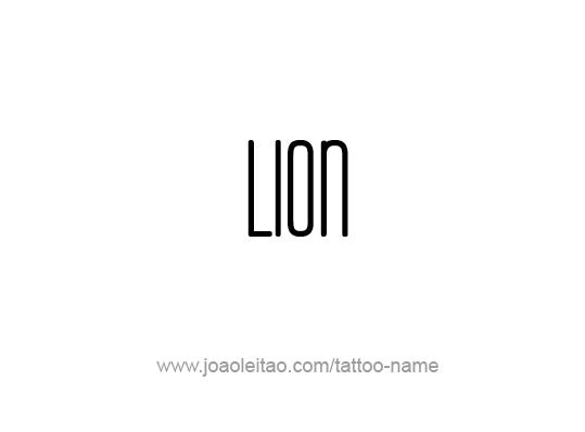 Tattoo Design Animal Name Lion