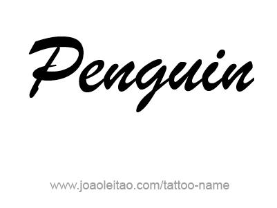 Tattoo Design Animal Name Penguin