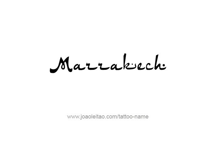 Tattoo Design City Name Marrakech