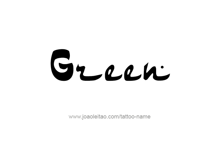 Tattoo Design Color Name Green