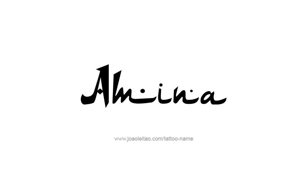 amina name tattoo designs