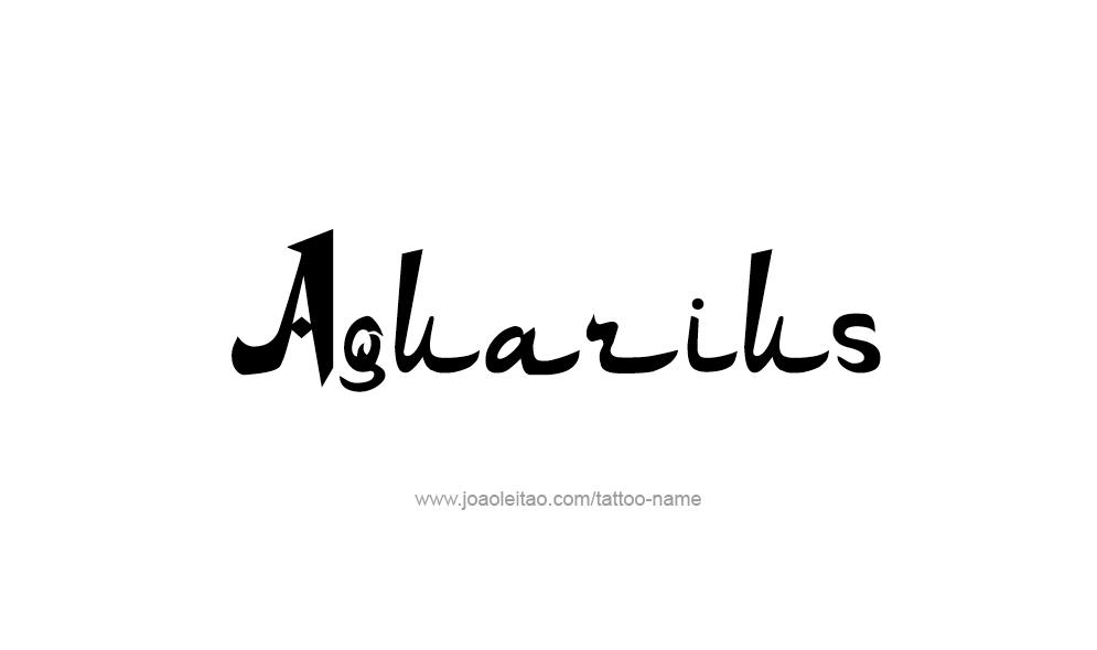Tattoo Design Horoscope Name Aquarius