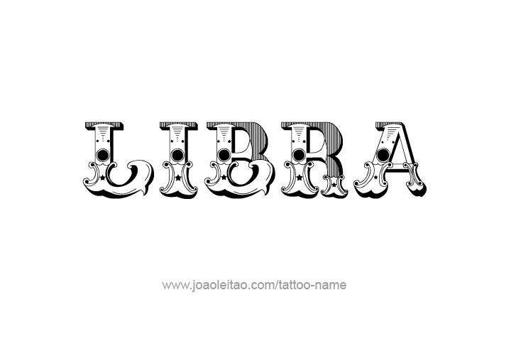 Tattoo Design Horoscope Name Libra