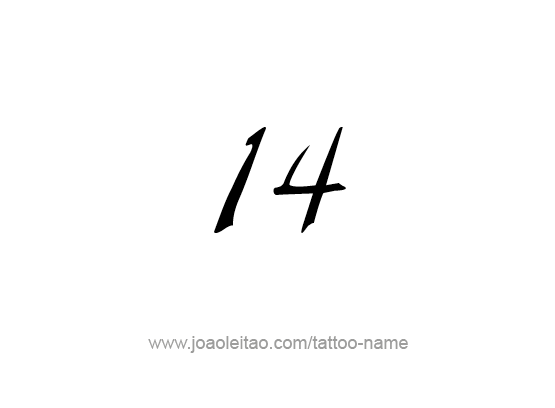 Fourteen-14 Number Tattoo Designs - Tattoos with Names