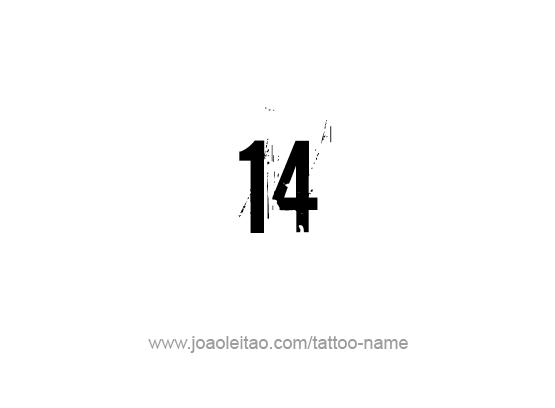 Fourteen-14 Number Tattoo Designs