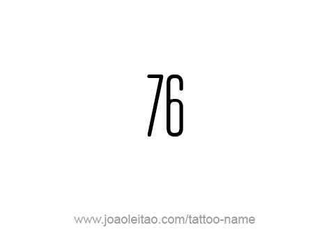 Tattoo Design Number Seventy Six