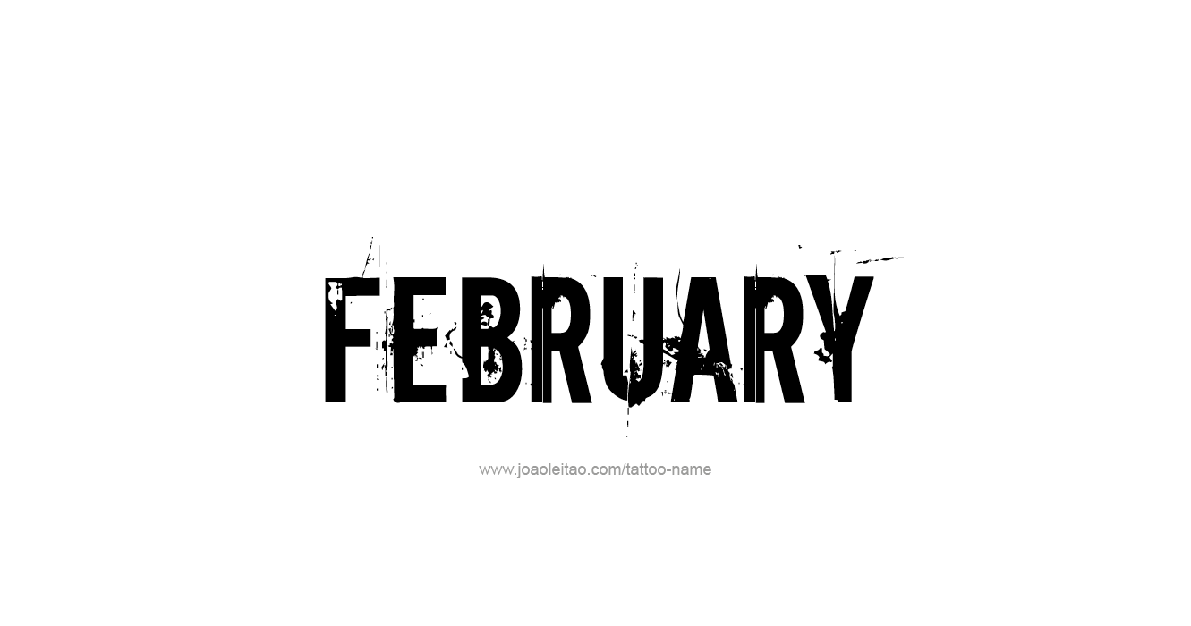 february month name tattoo designs
