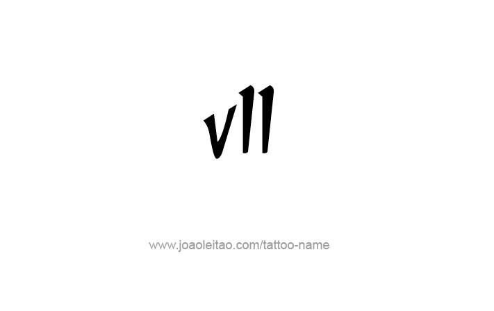 Tattoo Design Roman Numeral VII (7)