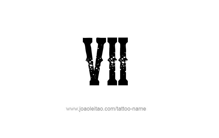 Tattoo Design Roman Numeral VII (7)