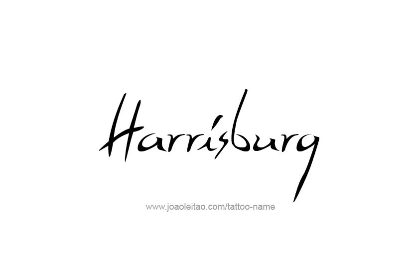 Tattoo Design USA Capital City Name Harrisburg