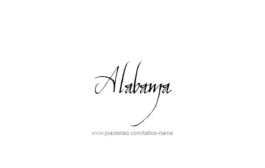 Tattoo Design USA State Name Alabama