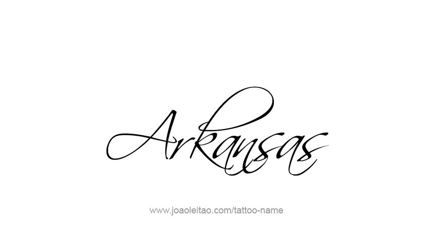 Tattoo Design USA State Name Arkansas