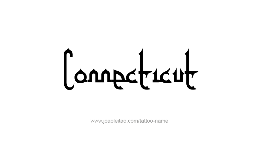 Tattoo Design USA State Name Connecticut