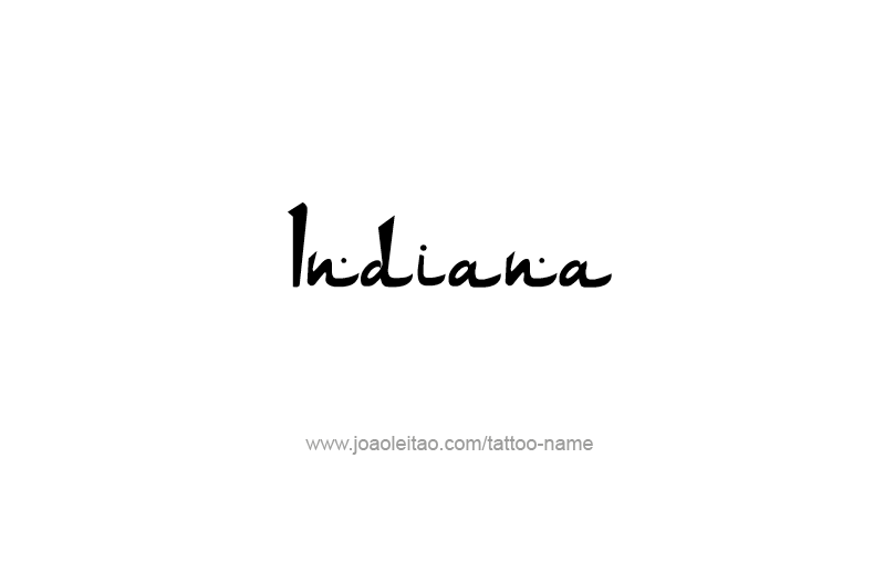 Tattoo Design USA State Name Indiana
