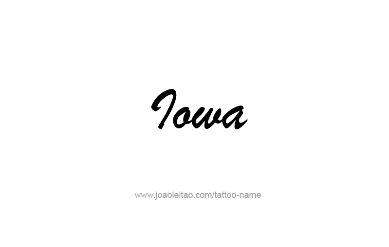 Tattoo Design USA State Name Iowa
