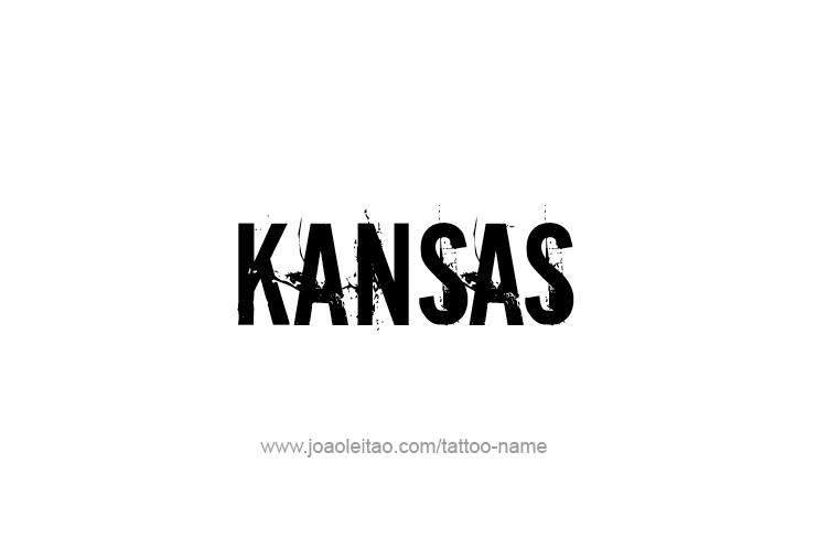 Tattoo Design USA State Name Kansas