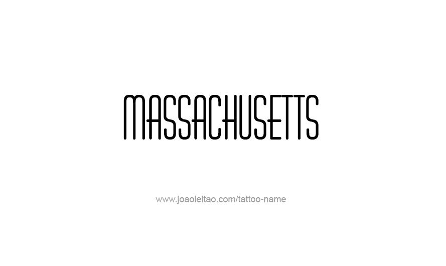 Tattoo Design USA State Name Massachusetts