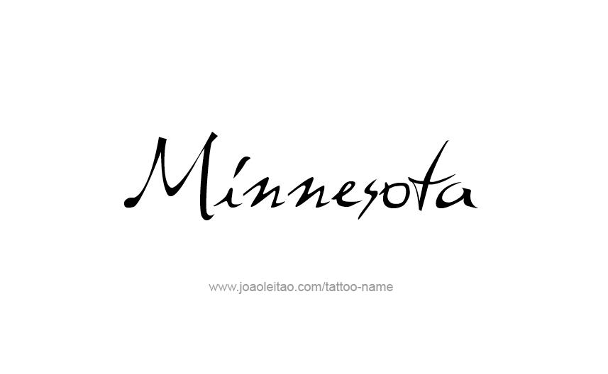 Tattoo Design USA State Name Minnesota