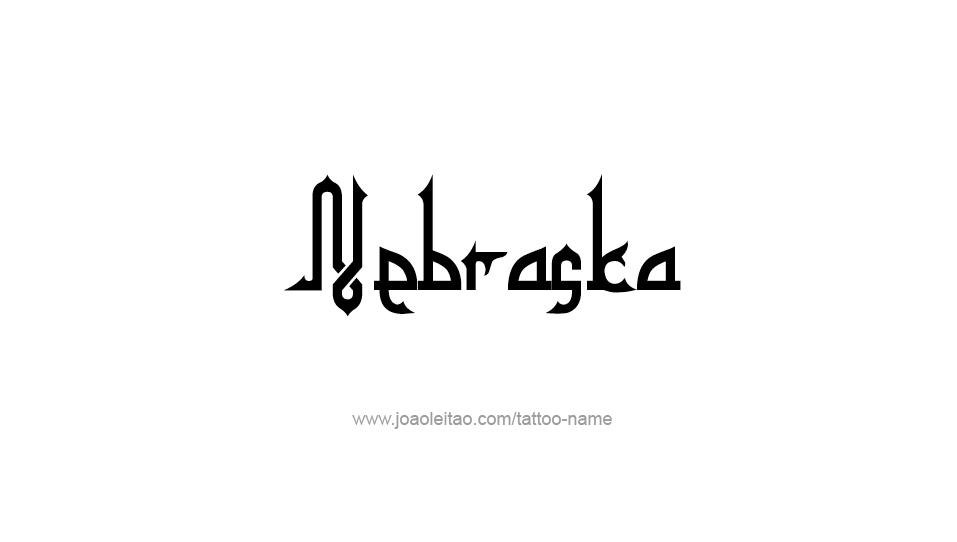 Tattoo Design USA State Name Nebraska
