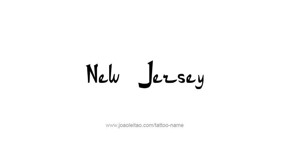 Tattoo Design USA State Name New Jersey