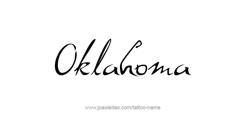 Tattoo Design USA State Name Oklahoma
