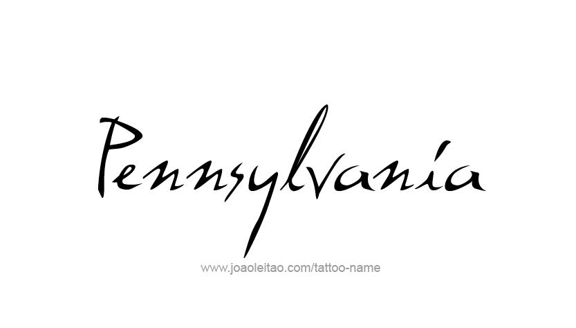 Tattoo Design USA State Name Pennsylvania