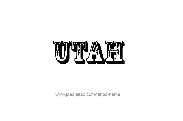 Tattoo Design USA State Name Utah