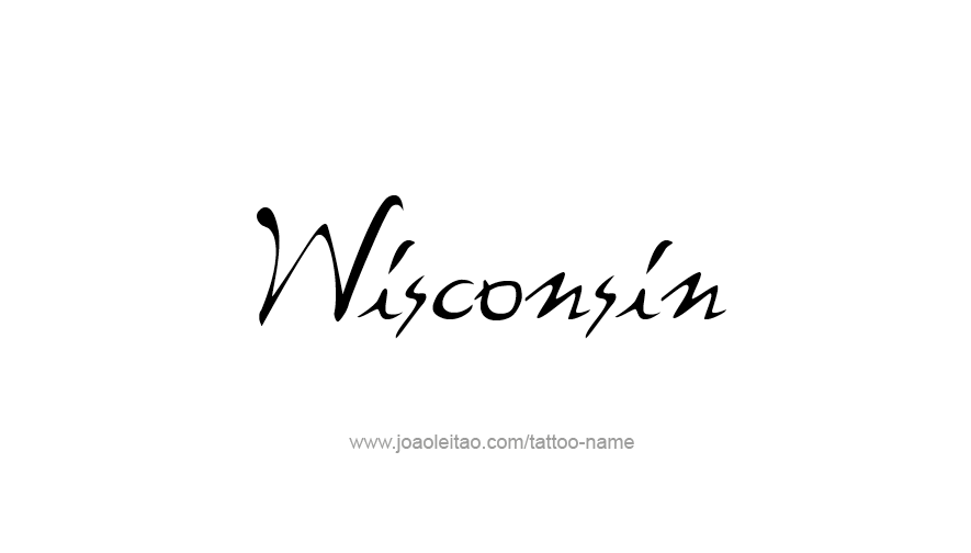 Tattoo Design USA State Name Wisconsin