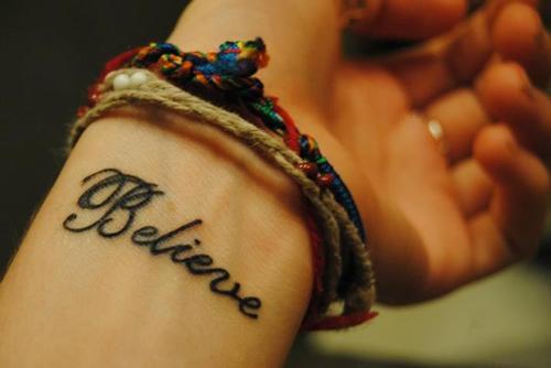 Inner Wrist Tattoo Design Inspirational Word Believe