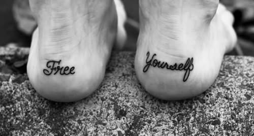 Heel name tattoo foot design for men and women