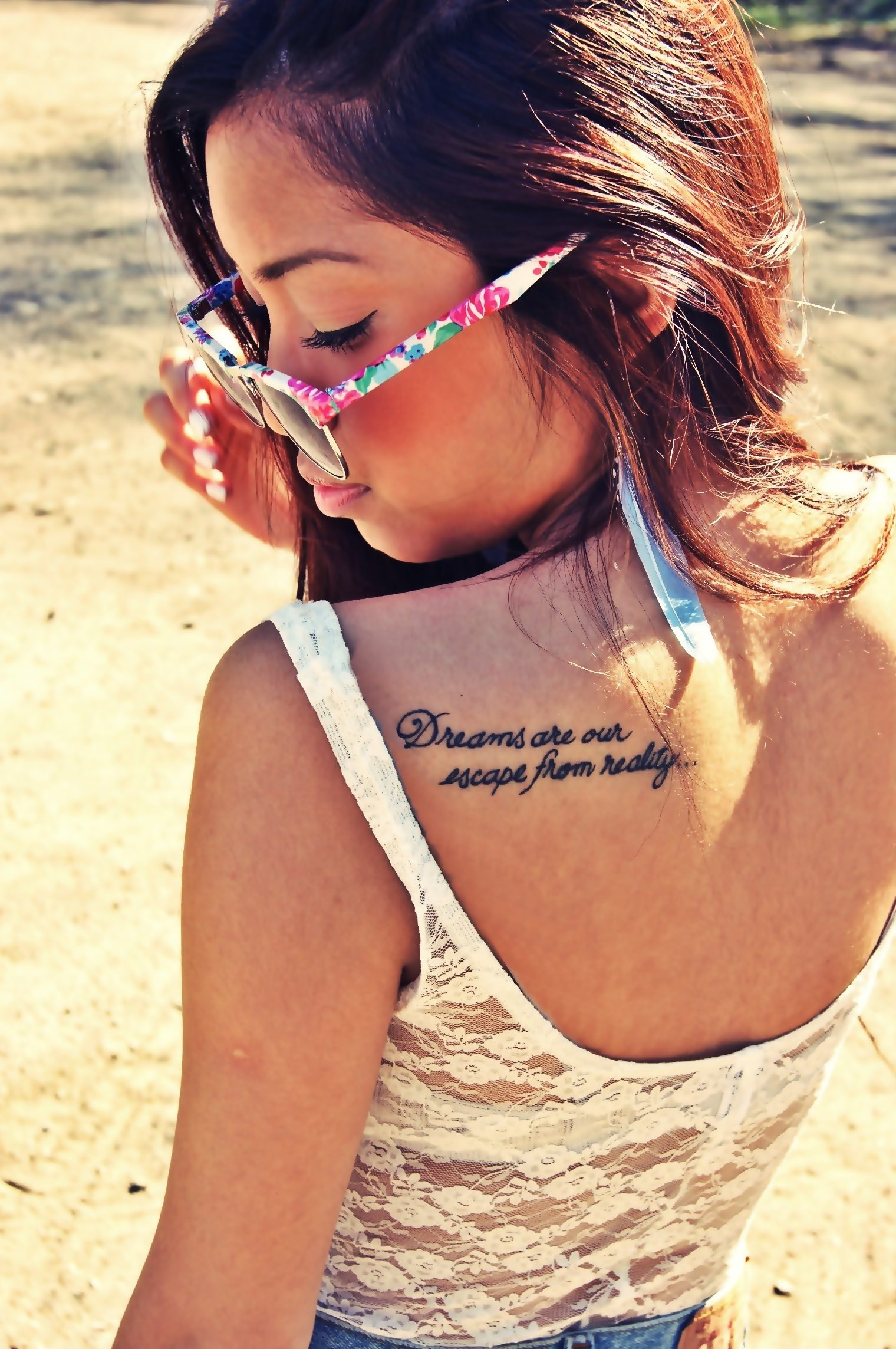 Quote shoulder blade tattoo design