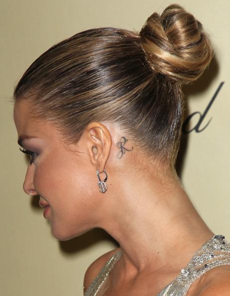 Carmen Electra name tattoo design behind ear